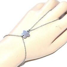 Chaîne de main bracelet bague acier inoxydable fleur bijou A2