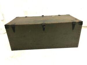 Vintage Military FOOT LOCKER Trunk chest flat top storage wood box GREEN us wwii