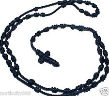 Religious Rosary Necklace cord knotted Navy Blue Rosarie rope long original Mex