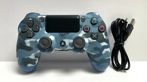 Blue Camouflage Wireless Controller DualShock 4 for Sony PS4 + USB Cable