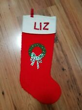Vintage Christmas Stocking LIZ Sequin Wreath 1960's