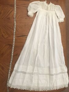 Antique Handmade Christening Baptism Gown w/ Lace & Floral Embroidery Gorgeous