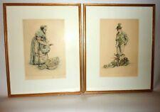 Framed Pair Vintage Paul Geissler German Signed Etchings Old Vegetable Sellers