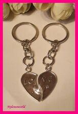 2 Partnerschafts / Liebe / Partner Schlüsselanhänger LOVE silberfarben NEU (916)