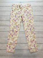 Old Navy Womens Pants Size 4 Pixie Fit Skinny Cream Purple Floral Cropped Chino