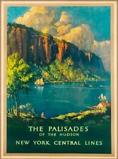 Palisades on the Hudson New York Central Lines U.S. Travel Advertisement Poster
