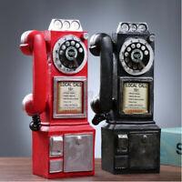 30cm Black Rotary Dial Telephone Statue Model Phone Booth Figurine Decor HH