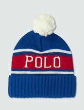 Polo Ralph Lauren Blue SPELL OUT Wool Knit Pom Pom Mens Beanie Winter Hat $58