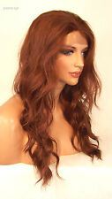 USA Bright Copper Red 130 Lace Front Wig Heat Ok Iron Safe Resistant Wavy Yvo