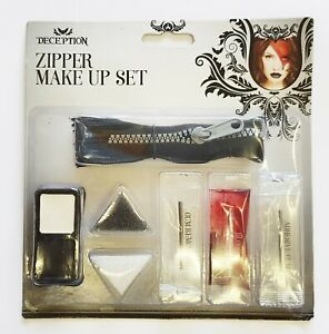 Zipper Set Bloody Scab Zombie Make Up Halloween Scar Fake Blood Face Putty