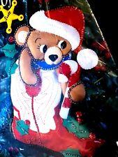 """15"""" Bucilla """"Wild Wild West Santa Bear"""" Christmas Stocking Kit 33254 felt sequin"""