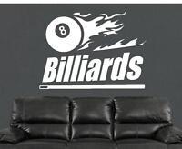 Billiards Pool Table Vinyl Wall Decal Sticker Man Cave Decor Cue Rack Chalk