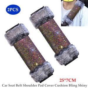 2PCS Car Safety Seat Belt Strap Diamond Plush Shoulder Pillow Cushion Cover Pad