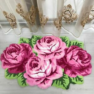 Carpet Home Decoration Rose Design Flocking Rug Floor Mat Living Room Decorative