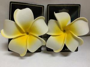 Lot of 2: Large Hawaii Flowers Hair Clips Plumeria Foam Bridal Wedding Party