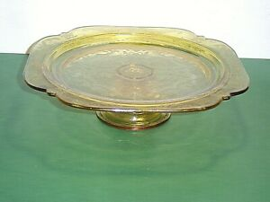 Federal Glass MADRID '76 Reissue Amber Glass Pedestal Cake Stand Plate  **