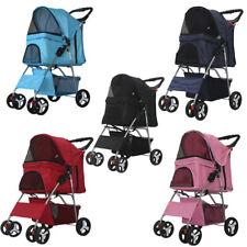 4 Wheels Folding Pet Stroller Cat Dog Cage Stroller Portable Travel Carrier Us