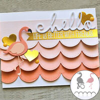 2 Pcs/Set Flamingo Wave Frame Cutting Dies Embossing Stencil Card Die-Cut Fashio