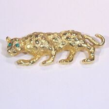 Vintage gold tone crouching leopard cheetah ocelot cat pin brooch green eyes