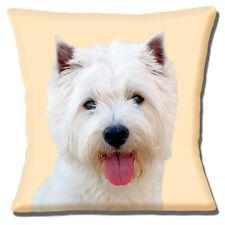 "West Highland Dog Cushion Cover 16""x16"" 40cm Photo Print White Westie Westy"