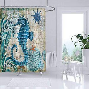 Sea Horse Ocean Animal Beach Theme Fabric Shower Curtain Sets Bathroom Decor