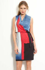 $298 Elie Tahari Halley Faux Wrap Silk Jersey Colorblock Surplice Dress 2
