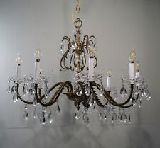 Antique Vintage Bronze Chandelier Ornate Leafy Crystals Elegant Lamp Fixture