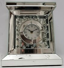 Floating Crystal Silver Mirrored Sparkly Table Clock