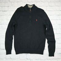 Mens Vintage Polo Ralph Lauren Quarter Zip Jumper Black Size S