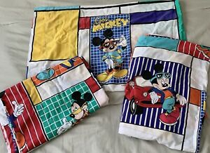 VTG 80s 90s Disney Cool Mickey Mouse Twin Bed Sheet Set Car Skateboard 3 Piece