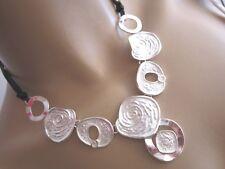 Modekette Collier Damen Hals Kette Leder Silber Schwarz Kreise Aluminium Trend!