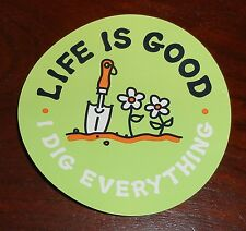 """Life is Good Sticker/Decal Round 4"""" I Dig Everything Light Green/Orange/White"""