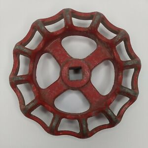 "1pc Red 4"" Vtg Industrial Metal Outdoor Faucet / Spigot Handle Knob Steampunk"