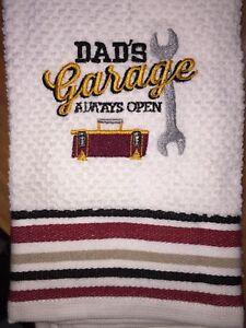 Embroidered Striped Kitchen Bar Hand Towel   Dad's Garage Always Open BS0828