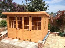 10x6 Wooden Pent Summerhouse Georgian Style Fully Tongue and Groove