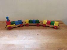 Wooden Train Set w/ Wooden Blocks - Made in Western Germany - Blocks & Cylinders