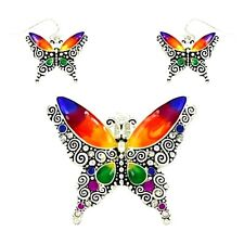 Colorful Enameled Butterfly Pendant and Earrings Set Gift Boxed Fast Shipping
