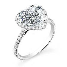 2.70 Ct Natural Heart Cut Halo Pave Diamond Engagement Ring - GIA Certified