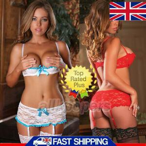 Women Lady Sexy Lace Open Bra Sleepwear Underwear Set Lingerie Babydoll Pajamas