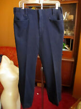 33x31 True Vtg 70s Navy Blue Polyester Textured Stretch Boocut Knit Flare Pants