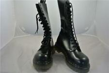TREDAIR NEW BLACK LEATHER STEEL TOE CAP BOOTS (UK 4) MADE IN ENGLAND GOTH EMO