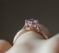 1.50Ct Round Cut Amethyst Diamond Solitaire Engagement Ring 14K Rose Gold Finish