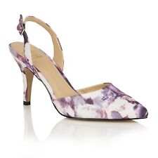 Ladies Floral Slingback Shoes Lotus Bridgitte Purple UK Size 6