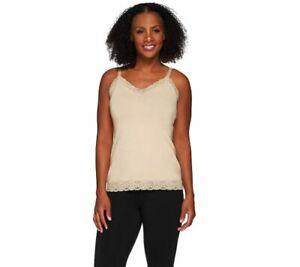 SUSAN GRAVER Essentials Stretch Cotton Modal Camisole w/Lace A271519