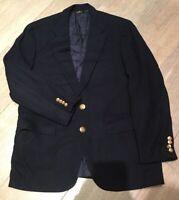 Men's Chaps by Ralph Lauren Classic Navy Blue Blazer Suit Jacket Size 44 Wool