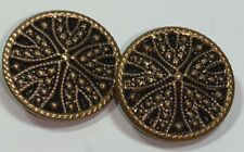 """Pair of Vintage Black and Gold Tone Shank Button with Clasp 7/8"""""""
