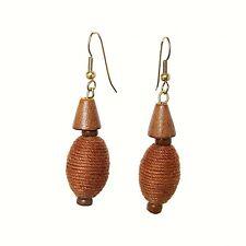 Beach Wear wooden earring with jute lace (S693)