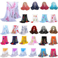 Women Scarf Long Flower Print Chiffon Neck Wrap Sheer Shawl Stole Scarves