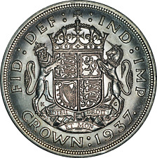 More details for uk george vi silver crown coin 1937 attractive au with full luster