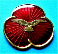 2020 Brand New Remembrance Enamel Red Poppy Pin Badge RAF Eagle